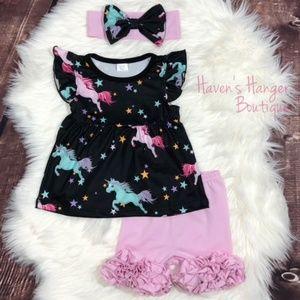 3pc. Black & Pink Unicorn Shorts Set